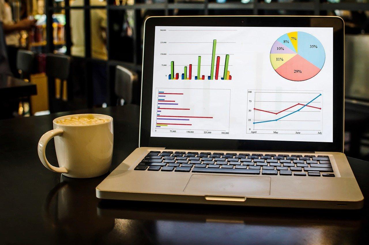 graphs, laptop, coffee